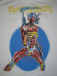 Original Iron Maiden Local Krew tee from their 1987 tour. Limited run for the working crew and not sold to the public! Vintage Iron, Vintage Shirts, Eddie The Head, Iron Maiden T Shirt, Old Shirts, Tour T Shirts, Band Tees, Art Music, Rock N Roll