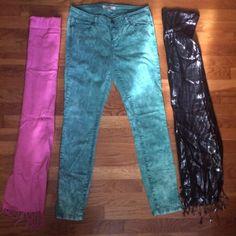Flash SALE ⚡️⚡️⚡️ Life in Progress Pants 27 Green Tye Dye like pants , measurements in photo , scarves included Life in Progress Pants Skinny