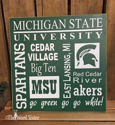 Michagan State University Subway Style 12x12 Sign by TheWordSister