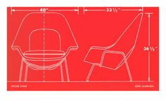 Specification drawing for the Womb chair by Saarinen.