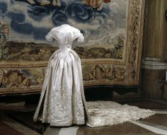 Wedding Dress: 1850, silk embroidered with metallic embroidery.