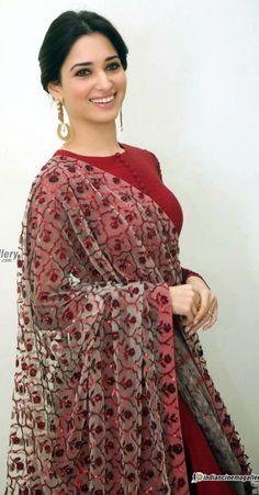 Tamanna Bhatia Photos including Actress Tamanna Bhatia Latest Stills Salwar Designs, Saree Blouse Designs, Indian Attire, Indian Wear, Indian Dresses, Indian Outfits, Kurtha Designs, Indian Designer Wear, Indian Designers