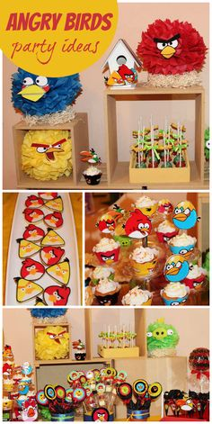 A fun Angry Birds birthday party with themed cupcakes, cookies and party decorations!  See more party planning ideas at CatchMyParty.com!