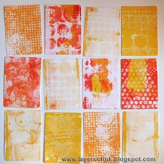 Layers of ink: Dotty Gelli Print ATC Book. ... I pressed circle and dot stencils, dot stamps, the lid of the paint dabber bottles and paper that had been embossed (Dot Matrix, Bubble, and Retro Circles folders), into it. I used more than one stencil, stamp or embossed paper for each print and placed a piece of Neenah cardstock (14 x 14 cm) on top, smoothing it with my hands. Layers of ink: Dotty Gelli Print ATC Book.