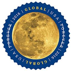 The Moon - Global Forever Stamp, $1.15 value to send a letter anywhere in the world. Love this design!