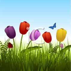 iCLIPART - Royalty Free Clipart Image of Flowers in the Grass