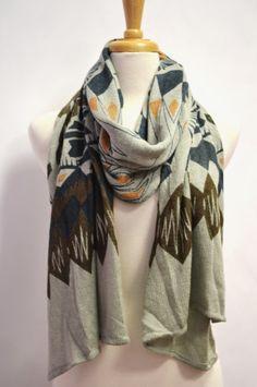 Aztec Tribal Western Geometric Print Shawl Scarf by AnytimeScarf, $33.00