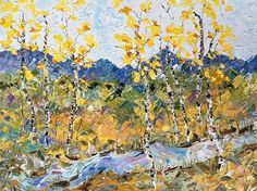 """Where ART Lives Gallery Artists Group Blog: Palette Knife Aspen , Colorado Landscape Painting """"Autumn River"""" by Colorado Impressionist Judith Babcock"""