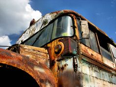 Rusted school bus with great color and textures