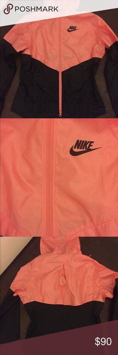 Nike wind runner Super cute! Black with pink, size small, NWT Nike Jackets & Coats