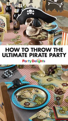 Find out how to throw the ultimate pirate party with decorations, party food, party games, DIY pirate costumes and more. Perfect for a kids' birthday party. Pirate Party Favors, Pirate Party Decorations, Pirate Decor, Pirate Themed Food, Pirate Food, Pirate Party Games, Girls Pirate Parties, Pirate Kids, Diy Party Games