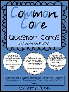 Common Core question cards for all reading standards for 2nd grade. I also have a 3rd grade version $5