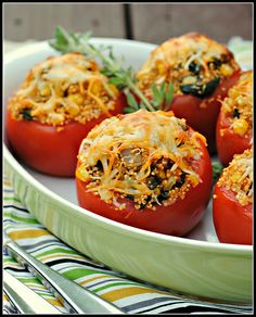baked tomatoes with quinoa, corn, and green chiles