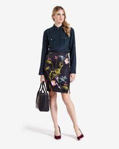 Oriental Floral pencil skirt - Black | Skirts & Shorts | Ted Baker