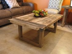 zinc top rustic wood coffee table | mad about metal furniture
