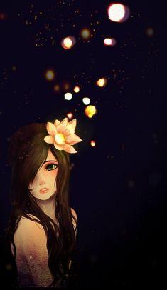 anime, anime girl, flower, girl, illustration, kawaii, moon, pretty, sky
