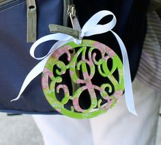 Beautiful sturdy personalized acryllic luggage tag made with Lilly Pulitzer prints in a 3 letter monogram.