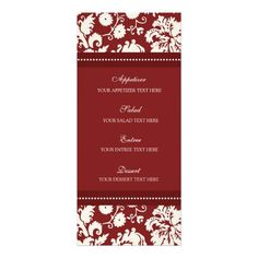 Wedding Menu Red Floral Damask