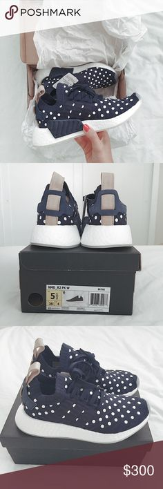 adidas originals NMD r2 primeknit women's 5.5 navy adidas originals NMD R2 primeknit women's   size: 5.5 color: collegiate navy / running white   i am typically a size 6 in vans, nike and find a half size down in the NMD fit perfectly! these are brand new, never worn, sold out online. super cute white polka dots on navy with tan suede heel tab.  #adidas #adidasoriginals #adidasNMD #NMD Adidas Shoes Sneakers