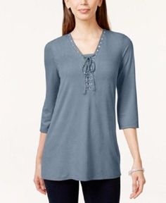 398672f5340 Style Co Blue Fog Lace-up Faux-suede Top Size XXL. Blouses For WomenLadies  ...