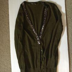 Loft olive sequin cardigan size small Loft olive sequin cardigan size small LOFT Sweaters Cardigans