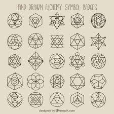Geometric symbols and badges Free Vector Sacred Geometry Patterns, Geometric Symbols, Geometry Art, Geometric Logo, Geometric Designs, Geometric Shapes, Alchemy Symbols, Magic Symbols, Sacred Symbols