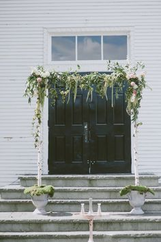 Romantic wedding arch idea - handmade birchwood arch with greenery and flowers {Shutter Sam Photography}