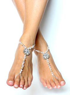 New to BareSandals on Etsy: Pearl and Rhinestone Barefoot Sandals Foot Jewelry for Brides and Bridal Party Beach Wedding Shoes (44.00 USD)
