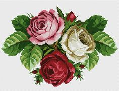 This Pin was discovered by Neş Cross Stitch Love, Cross Stitch Flowers, Cross Stitch Charts, Cross Stitch Designs, Cross Stitch Patterns, Rose Embroidery, Cross Stitch Embroidery, Needlepoint Designs, Vintage Flowers