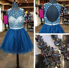 Shining Illusion Neck Beaded Open Back Navy Tulle Homecoming Dresses,Short prom dress