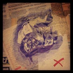 10th October - Just a wad of paper #dailydrawing - bic, marker and collage on newspaper