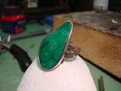 Your friends will all be green with envy once they spy this beautiful Malachite ring! Boho Rings, Boho Jewelry, Gemstone Jewelry, Jewelry Gifts, Unique Jewelry, Diamond Jewelry, Silver Jewelry, Handmade Rings, Handmade Jewelry