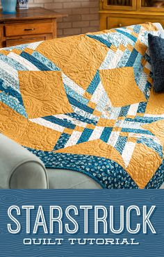 "This week Jenny has whipped up yet another Binding Tool masterpiece! The Starstruck quilt is a gorgeous pattern with big star blocks made out of 2.5"" inch strips. Click the link below to watch this fabulous quilting tutorial now! #MissouriStarQuiltCo #StarstruckQuilt #Quilting #Quilt #StarAesthetic #StarQuilt #BindingTool #Sewing #HowToQuilt #QuiltTutorial #QuiltBlock #QuiltPattern #BeginnerSewing #SewingPattern #DIYHomeDecor #StripQuilt #JellyRollQuilt #JennyDoan Strip Quilts, Easy Quilts, Quilt Blocks, Star Blocks, Missouri Star Quilt Pattern, Star Quilt Patterns, Quilting Tutorials, Quilting Projects, Beginner Quilting"