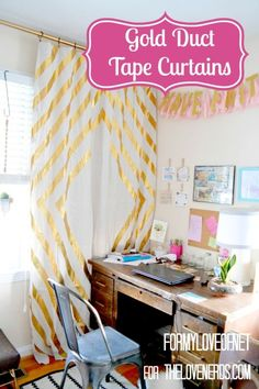 Gold Duct Tape Curtains for a Gorgeous Accent Wall - The Love Nerds