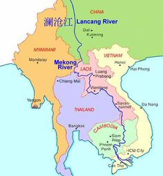 Map of the Mekong river.