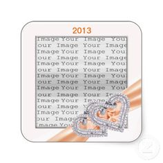 Custom Hearts Tangerine Ribbon Stickers #weddings