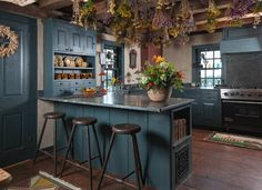 Farmhouse Kitchen The William Farley House - Houzz.  I LOVE a colored kitchen in an early American style, but don't know if I could pull it off in my home.  I adore the look though.