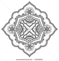 Henna tattoo mandala in mehndi style. Pattern for coloring book. Hand drawn vector illustration isolated on white background. Design element in Doodles style. Pattern Coloring Pages, Coloring Book Art, Mandala Coloring Pages, Colouring Pages, Henna Designs Drawing, Mehndi Style, Mandalas Drawing, Literary Tattoos, Circular Pattern