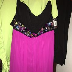 *MAKE OFFER* semi formal dress hot pink and black high low with rhinestones nwt Dresses High Low