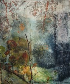 Mixed media work by Julie Shackson - Beautiful, wonderful colours and images, I love this work.