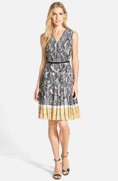 Halogen® Belted Pleat Print Fit & Flare Dress (Regular & Petite) available at #Nordstrom