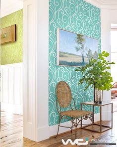 Teal swirly scroll wall covering from Coastal Chic Collection by Wallquest Entrance Hall, Spring Trends, Coastal, Chic, Wallpaper, Gallery, Modern, Room, Home Decor