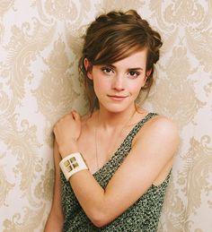Emma Watson Dark Brown Braided Up-Do Hairstyle