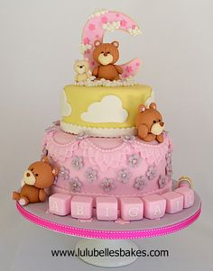 Bear in moon christening cake