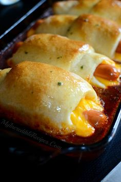 Chili Cheese Dog Bake - Turned out great, family loved it! Used the pizza dough as she had in the recipe and it turned brown on top and had a dumpling-like texture on the bottom that was very good. Hot Dog Recipes, Pork Recipes, Cooking Recipes, Cooking Fish, Family Recipes, Healthy Recipes, Chili Cheese Dogs, Chili Dogs, Good Food