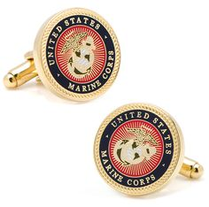 The official military insignia of the United States Marine Corps in a colored enamel finish on a gold setting with a rope border. In honor of the men and women