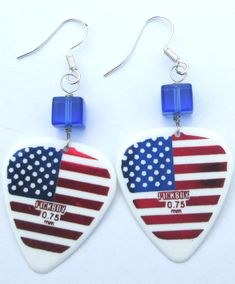 NEW American flag guitar pick pierced dangle hand made affordable unique wire wrapped earrings by Ziporgiabella music lovers USA by Ziporgiabella on Etsy