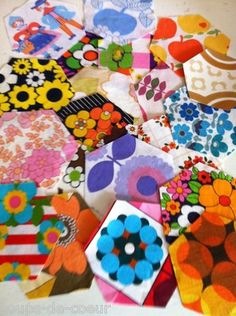 1970s fabric hexi packs - would make a great quilt