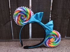 Lollipop-Inspired Mouse Ear Headband with by ModernMouseBoutique