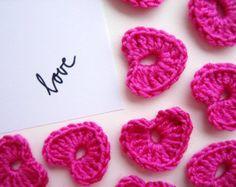 Crochet Heart Applique, Flashy PINK, Set of 10, Valentines Day Heart Love Motif